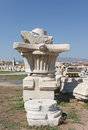 Agora column original capital with a flower in ancient smirna izmir turkey Royalty Free Stock Photography