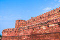 The agra fort walls and battlements of built by mughals in indian state of uttar pradhesh Stock Photography