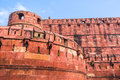The agra fort walls and battlements of built by mughals in indian state of uttar pradhesh Royalty Free Stock Photo