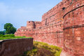 The agra fort walls and trench of built by mughals in indian state of uttar pradhesh Stock Photo