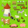 Farm animals - cow, pig, sheep, horse, rooster, chicken, turkey, chicken, goose, rabbit. Agraculture and mill. Cute cartoon in