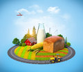 Agrarian background farm with bread milk corn and house on a field Stock Photography