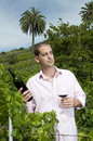 Agrarian man in a vineyard Stock Photography
