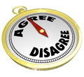 Agree vs disagree words compass vote consensus decision an agreement is reached as the golden points to the word and away from to Stock Photo