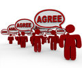 Agree word speech bubbles group people agreement many agreeing to a proposition by saying the in to form an concensus or unanimous Stock Photography