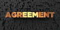 Agreement - Gold text on black background - 3D rendered royalty free stock picture Royalty Free Stock Photo