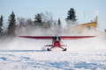 Agricultural aircraft red on yellowknife Stock Photo