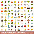 100 agricultural art icons set, flat style