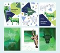 Agricultural brochure layout design. Polygonal portrait of a cow. Geometrical composition. A set of banners.