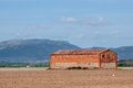 Agricultural cottage in plowed fields la rioja spain Royalty Free Stock Images