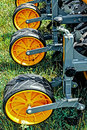 Agricultural equipment detail for agriculture presented to an exhibition Royalty Free Stock Images