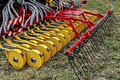 Agricultural equipment details for agriculture presented to an exhibition Royalty Free Stock Images