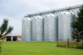 Agricultural farm steel silo food industry Royalty Free Stock Image