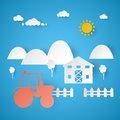 Agricultural Farm with Tractor and Rural Landscape. Cut Paper Illustration Royalty Free Stock Photo