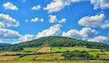 Agricultural landscape in central france with beautiful clouds Royalty Free Stock Photos