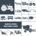 Agricultural Machinery Black White Icons Set Royalty Free Stock Photo