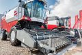 Agricultural machinery exhibition tyumen russia april iv specialized and equipment harvester demonstration Stock Photography