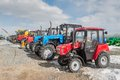 Agricultural machinery exhibition tyumen russia april iv specialized and equipment tractor demonstration on platform open Stock Photos