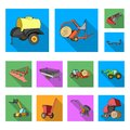 Agricultural machinery flat icons in set collection for design. Equipment and device vector symbol stock web