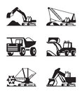 Agricultural machinery icon set vector illustration Royalty Free Stock Photos