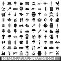 100 agricultural operation icons set, simple style