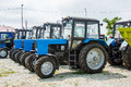 Agricultural tractors on store in russia Stock Photography