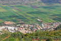 Agricultural valley view from galilee mountains on arab settlement in north of israel Stock Image