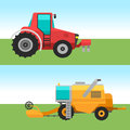 Agricultural vehicles cards harvester machine combines and excavators icon set with accessories for plowing mowing