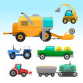 Agricultural vehicles and harvester machine combines and excavators icon set with accessories for plowing mowing