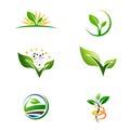 Agriculture Farm Plant Grow Logo Set