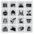 Agriculture and farming vector black icons set Stock Photos