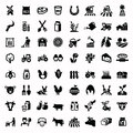 Agriculture and farming vector black icons set Stock Images