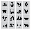 Agriculture and farming vector black icons set Royalty Free Stock Photography