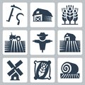 Agriculture and farming vector icons