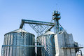Agriculture grain storage silo metallic structure Stock Photos