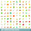 100 agriculture icons set, cartoon style
