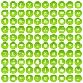 100 agriculture icons set green circle