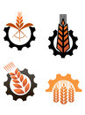 Agriculture icons and smbols with cereal grains industrial gears Royalty Free Stock Photo
