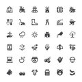Agriculture and livestock flat icons. Black Royalty Free Stock Photo
