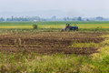 Agriculture plowing tractor on wheat cereal fields in thailand Royalty Free Stock Photos