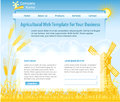 Agriculture theme web design template vector background with wheat and mill Stock Photography