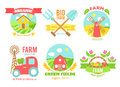 Agro badges cartoon vector illustartion Royalty Free Stock Photo