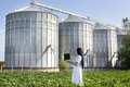 Agronomist with laptop with silos behind Royalty Free Stock Photo