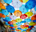 Agueda portugal street decorated with colored umbrellas Stock Image
