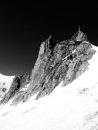 Aguille du midi view of from the glacier Royalty Free Stock Photography