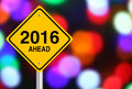 Ahead new year road sign with beautiful bokeh background Stock Image