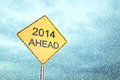 Ahead new year road sign d render Royalty Free Stock Images