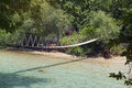 Aherontas river in greece rope bridge over aheron Royalty Free Stock Photo