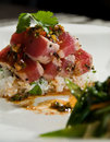 Ahi tuna over rice Royalty Free Stock Images