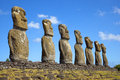 Ahu akivi moai rapa nui easter island chile view of seven which are the only to face the sea Royalty Free Stock Photography